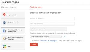 crear una page en google+