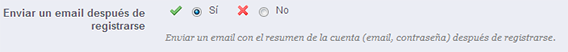 email registro enviar cllientes prestashop
