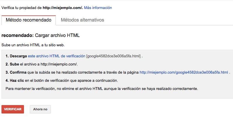 Verificar sitio en webmaster tools