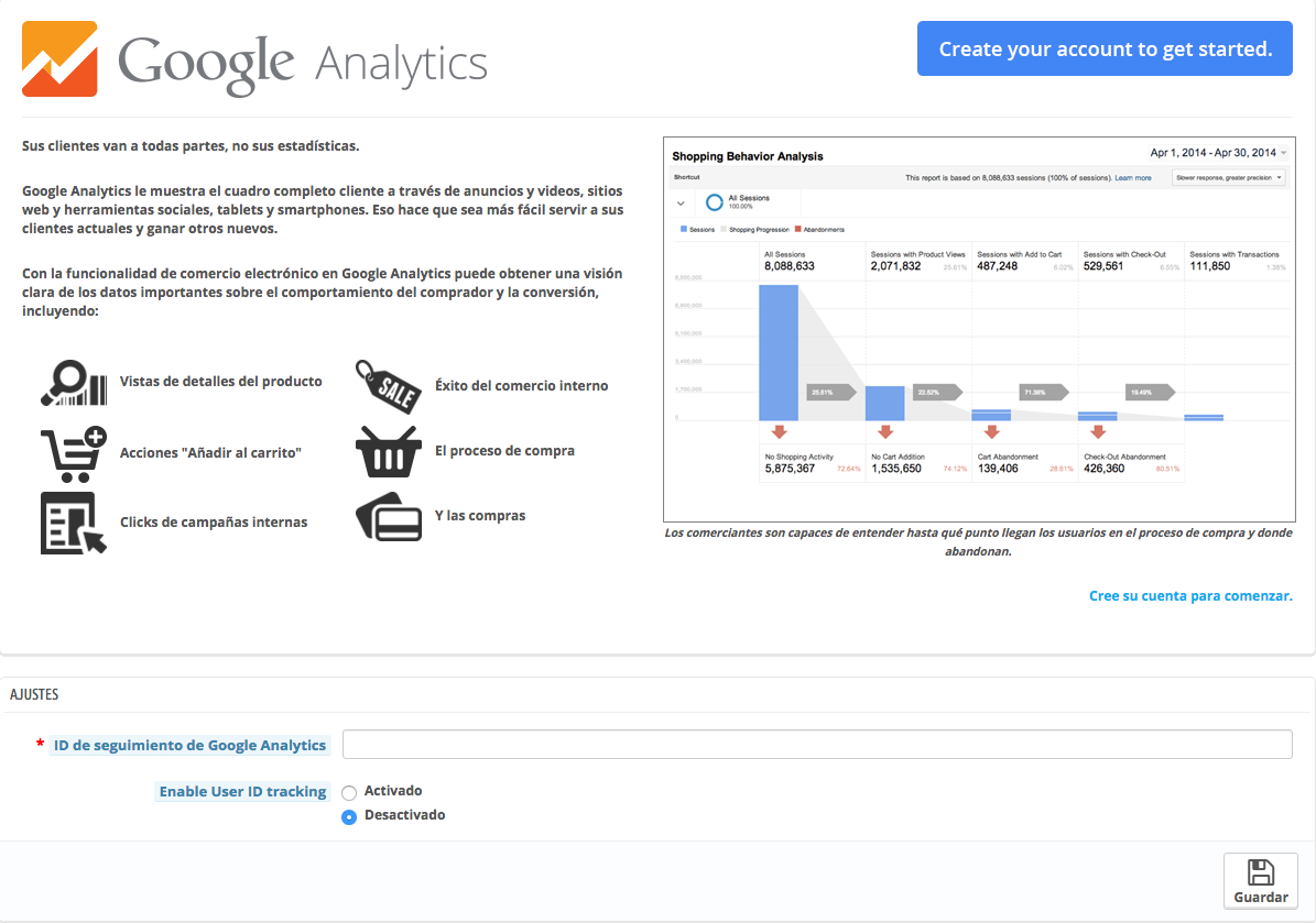 Módulo de Google Analitycs en Prestashop