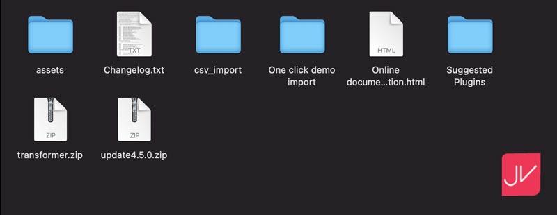 Archivos de la plantilla descargada para PrestaShop.