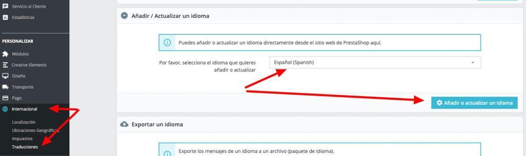 Selección de idiomas en PrestaShop
