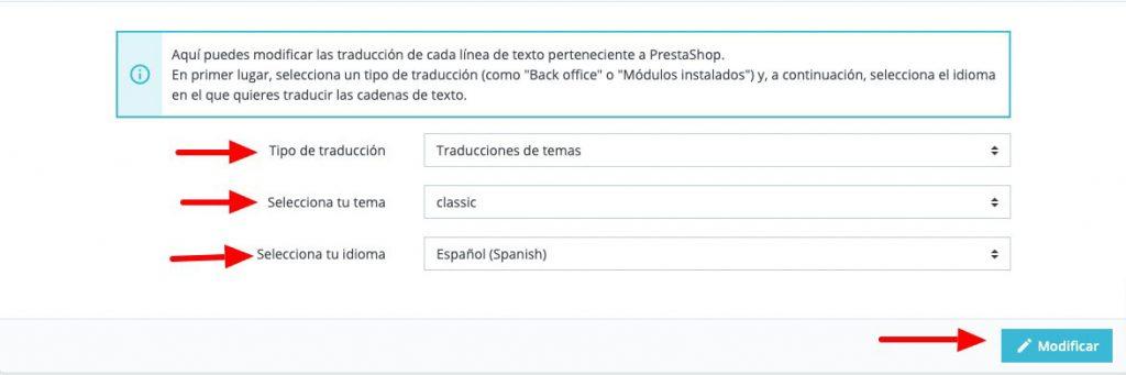 Escoger plantilla e idioma para traducir